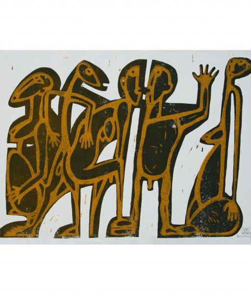 BEZIEHUNGSKISTE - 1991 - ZWEIFARBIGER LINOLDRUCK 70X50