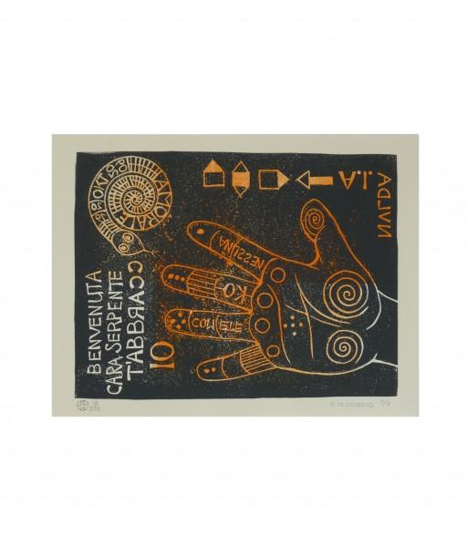 IO LA CONOSCO -2012- MEHRFARBIGER LINOLDRUCK 40X50