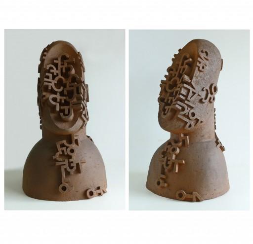 Head II -2015- Keramik gefärbt, 66x38x38cm