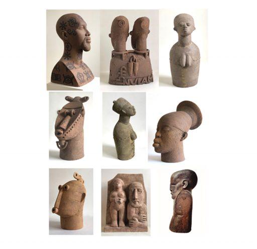 aus der Serie - Selbstporträt mit guten Freunden - Gruppe II  Gips Keramik Bronze