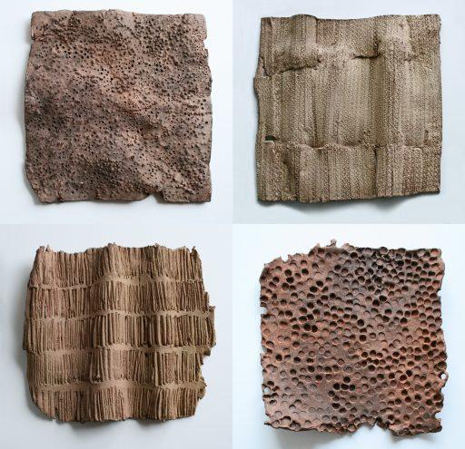 structures I ( hommage à Karl Bloßfeldt )  Keramik,gefärbt - auf 4 Holztafeln  à 35x35x3,5cm  2016